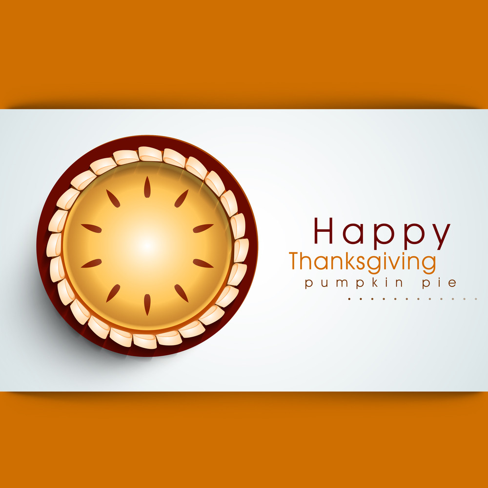 Happy Thanksgiving Day Concept With Pumpkin Pie On Orange And Blue Background