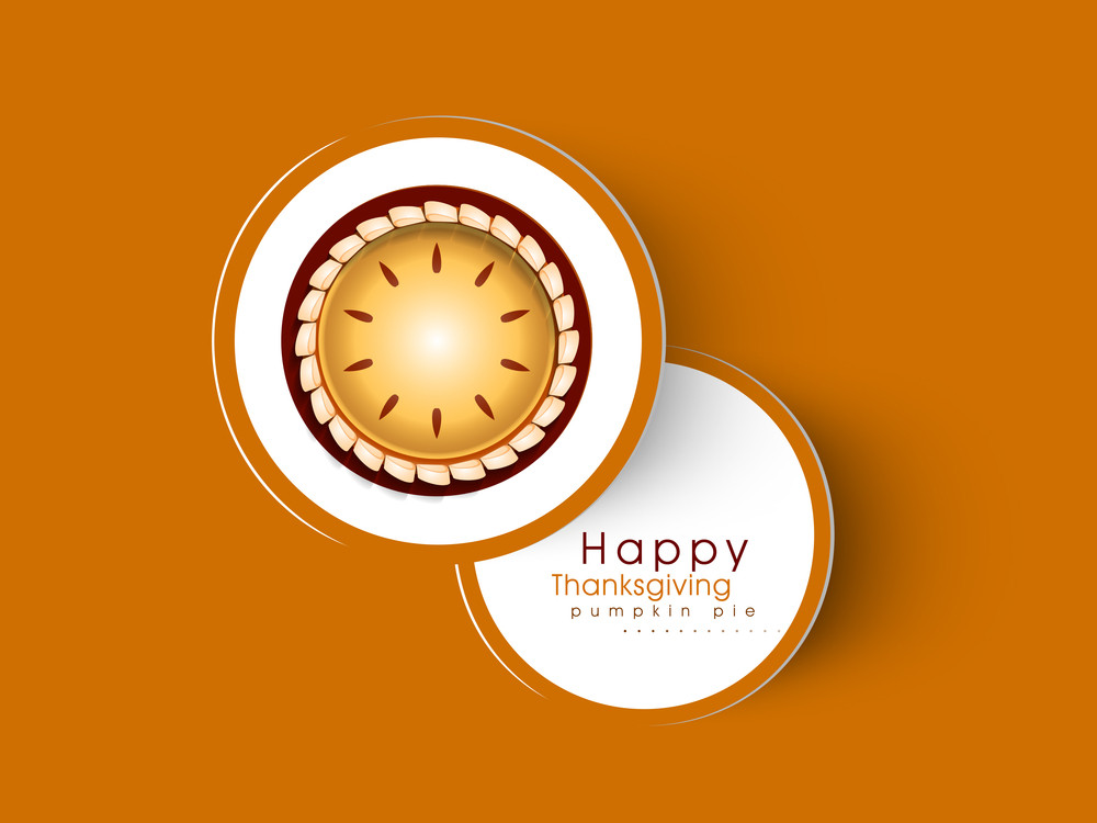 Happy Thanksgiving Day Concept With Pumpkin Pie On Orange Background.