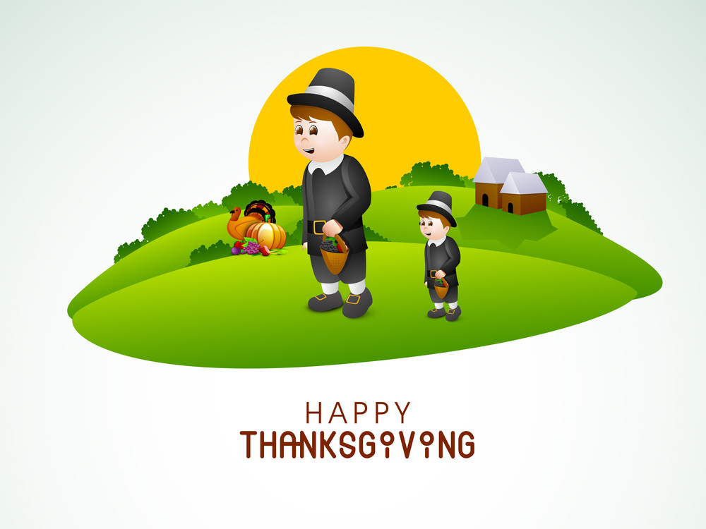 Happy Thanksgiving Day Concept With Stylish Cute Boy Holding Basket With Full Of Vegetables And Fruits On Nature Background.