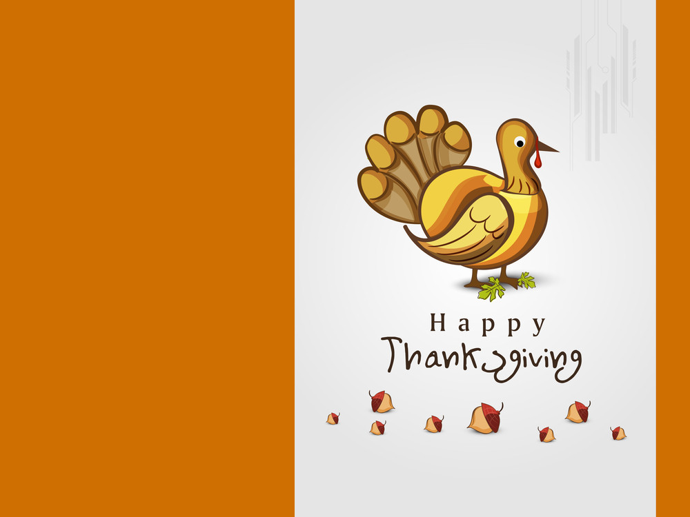Happy Thanksgiving Day Greeting Card With Beautiful Turkey Bird On Orange And Grey Background.