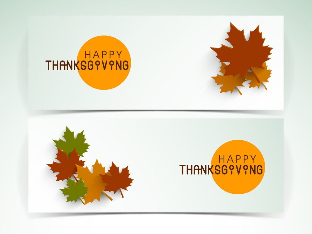 Happy Thanksgiving Day Header Or Banner Set With Stylish Text And Colorful Autumn Leaves.