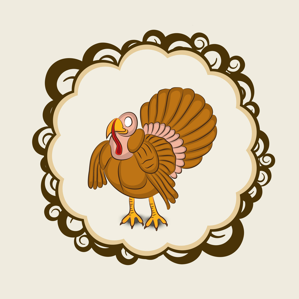 Happy Thanksgiving Day With Beautiful Turkey Bird In Floral ...