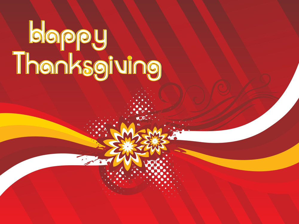 Happy Thanksgiving Text On Red Floral Background