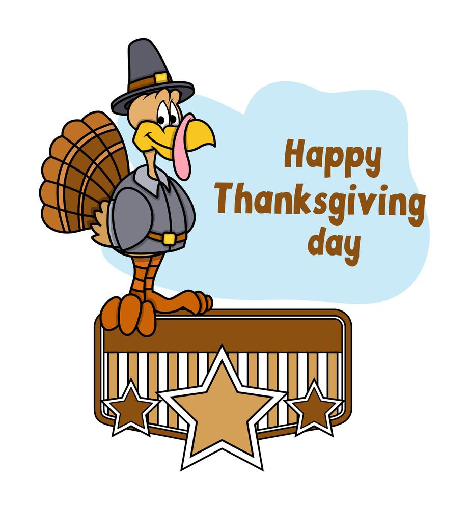 Happy Turkey Bird Retro Banner Frame