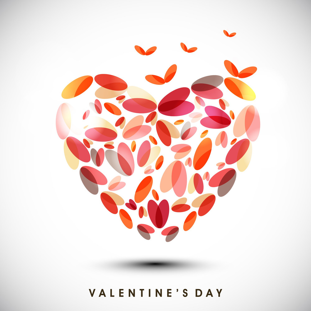 Happy Valentines Day Background With  Heart Made By Petals