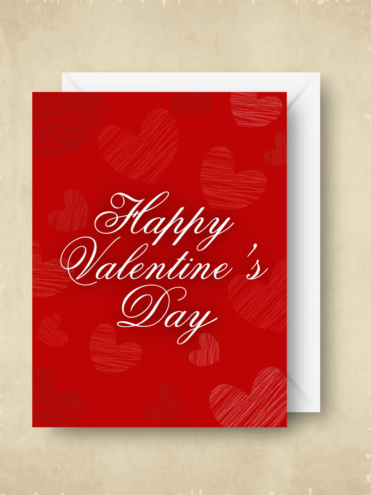 Happy Valentines Day   In Red Col With White Envelope