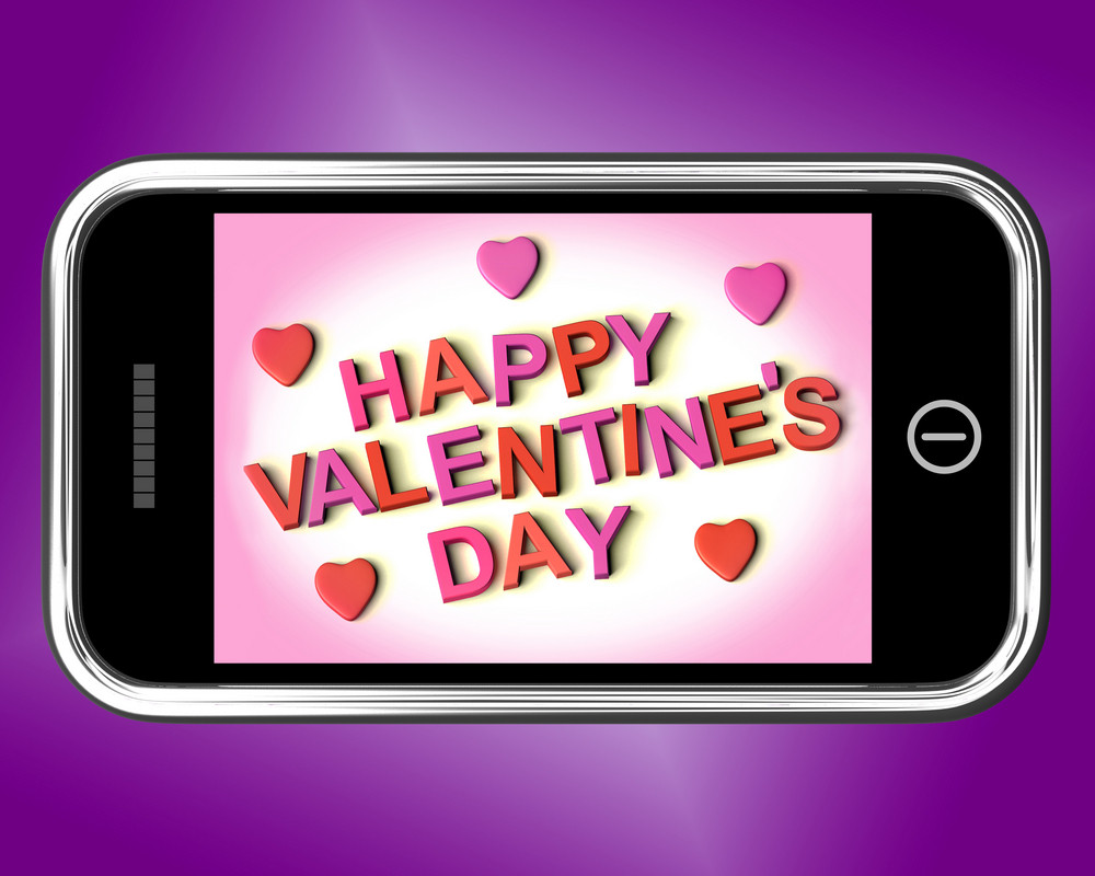 Happy Valentines Day Message On Mobile Shows Love