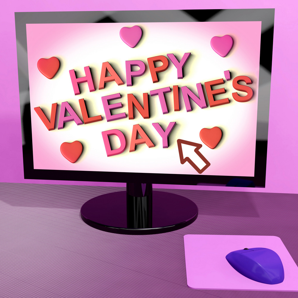 Happy Valentine's Day On Computer Screen Showing Online Greeting