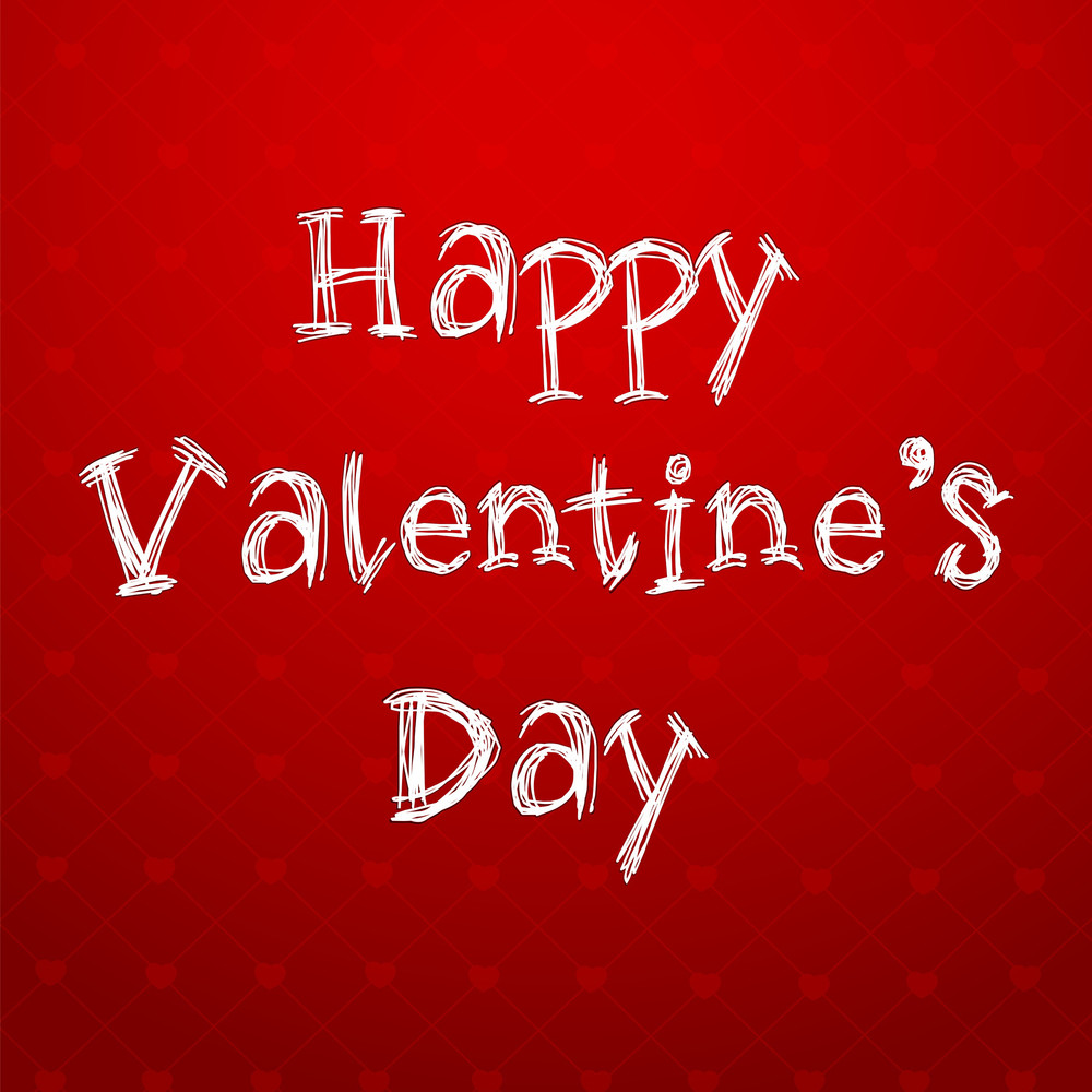 Happy Valentines Day Text On Red Background