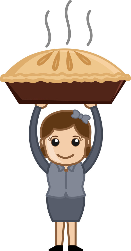 Happy Woman Prepared Apple Pie - Cartoon Business Vector Character