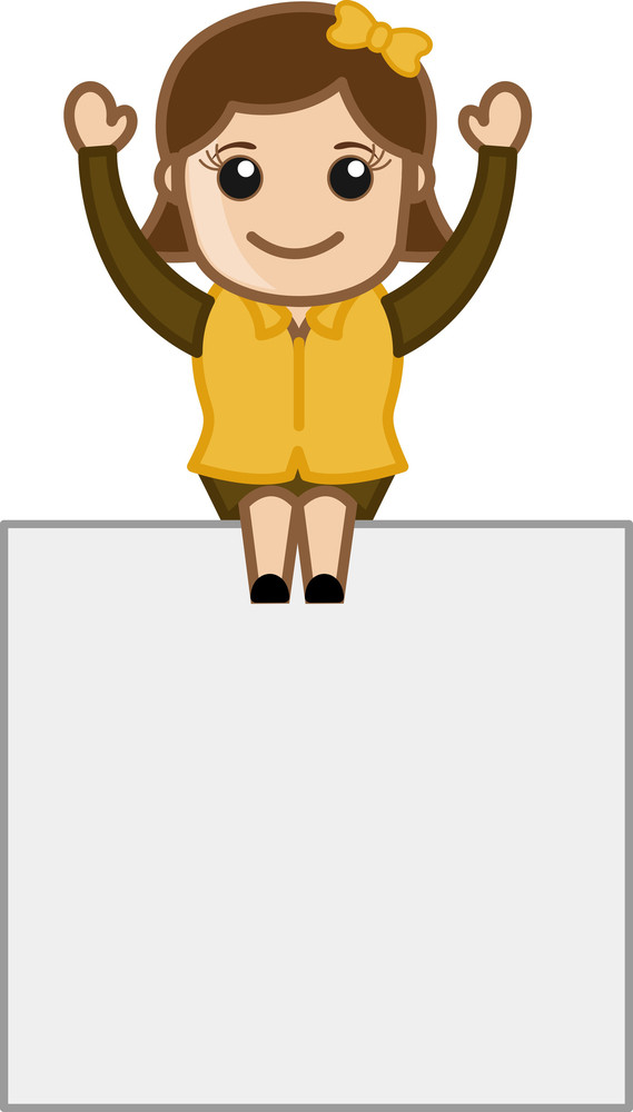 Happy Woman Sitting On Board - Cartoon Bussiness Vector Illustrations