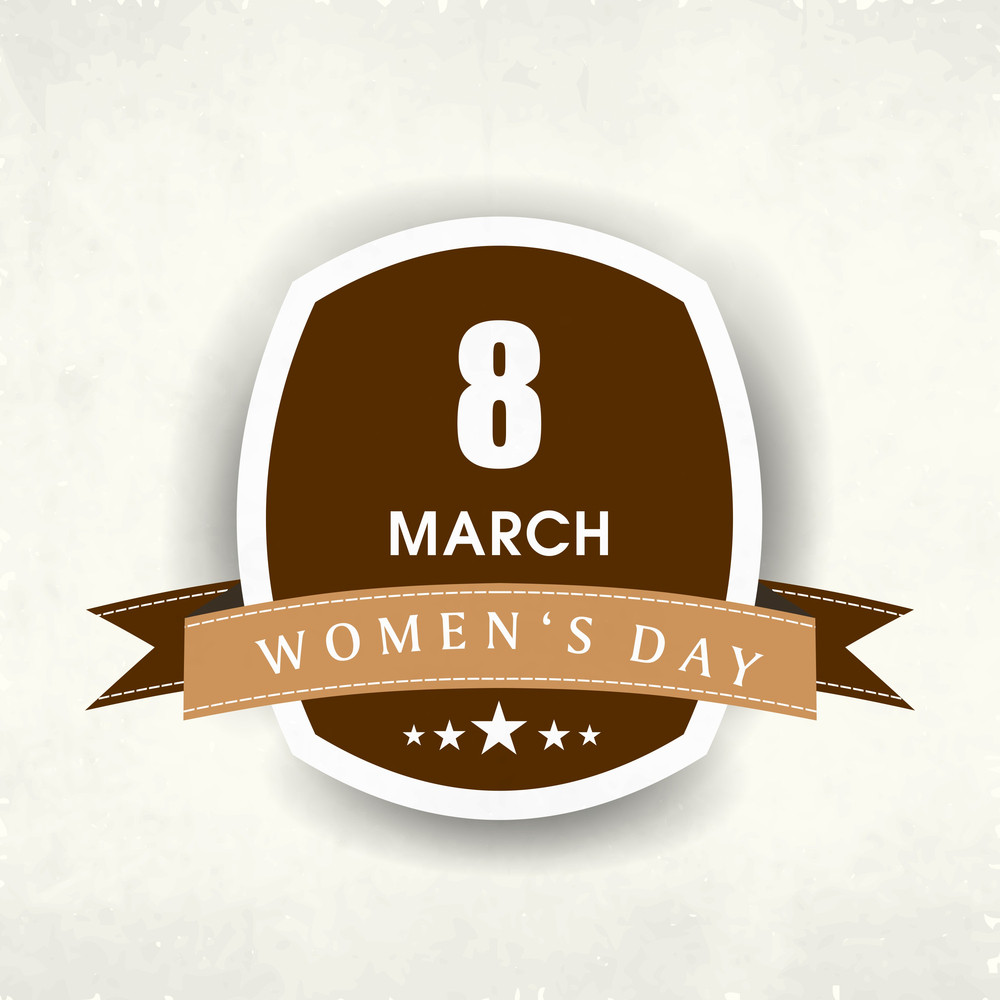 Happy Womens Day Badege With Stylish Text.