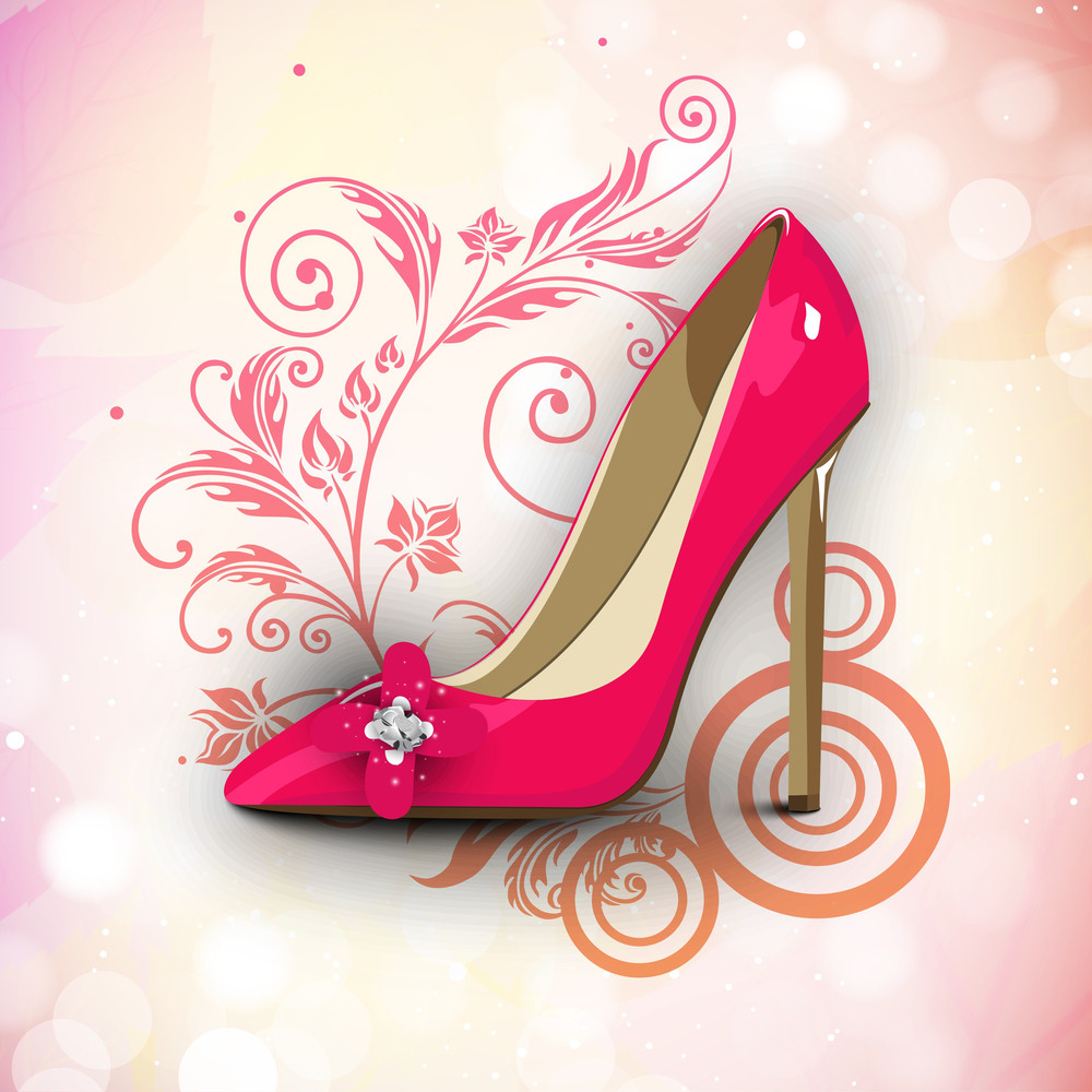 Happy Women's Day Greeting Card Or Background With A Red Ladies Shoe On Floral Decorative Background