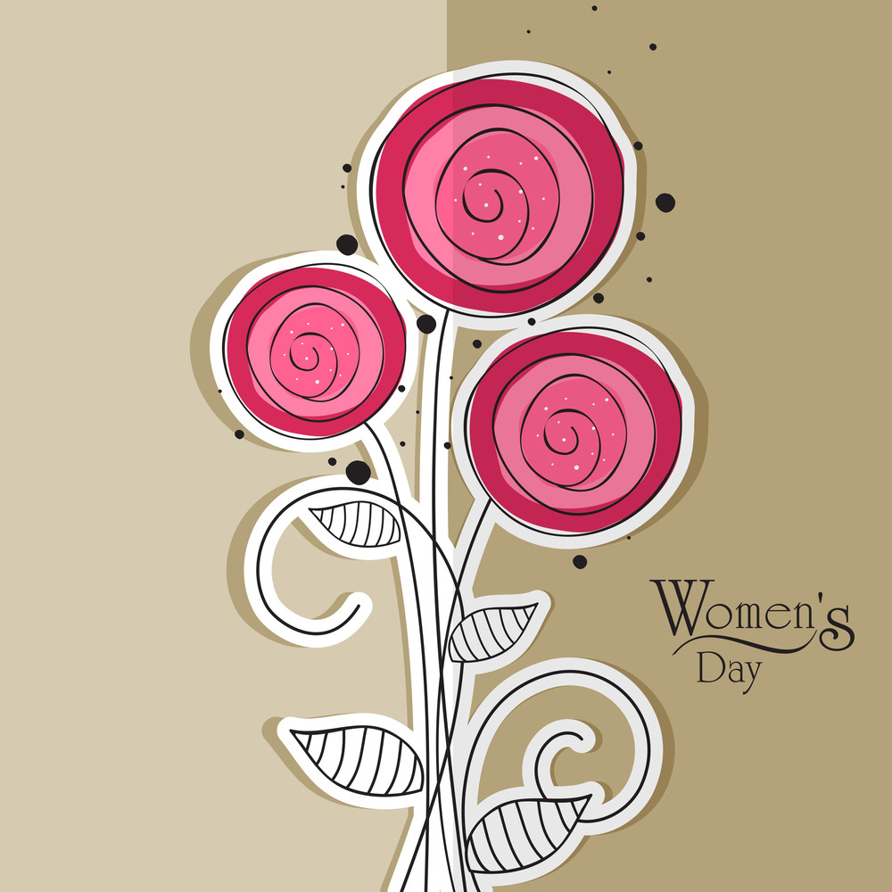 Happy Womens Day Greeting Card Or Poster Design Decorated With Pink Flowers On Grey Background.