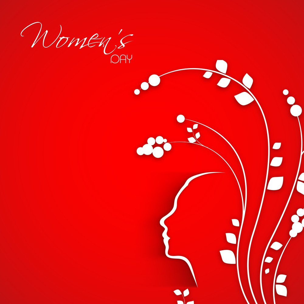 Happy Womens Day Greeting Card Or Poster Design With Beautiful Floral Design On Bright Red Background.