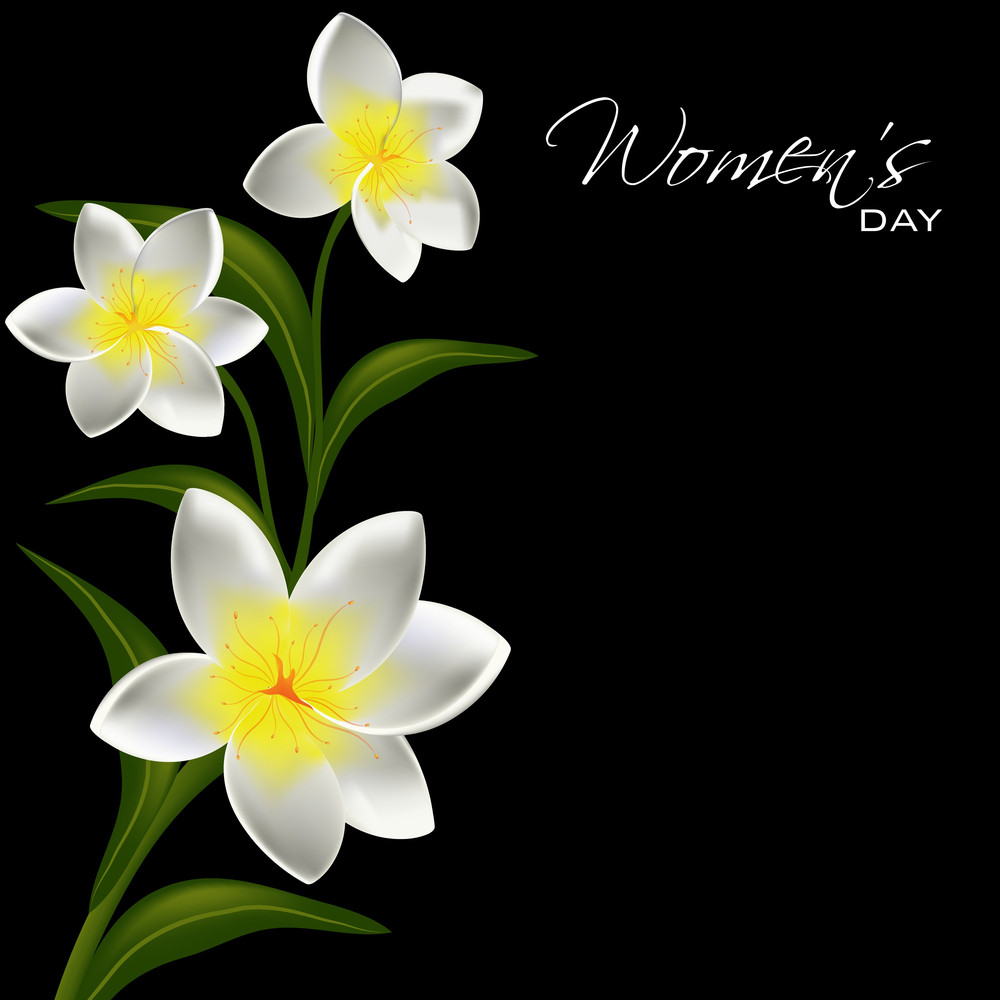 Happy Womens Day Greeting Card Or Poster Design With Beautiful Flowers Design On Black Background.
