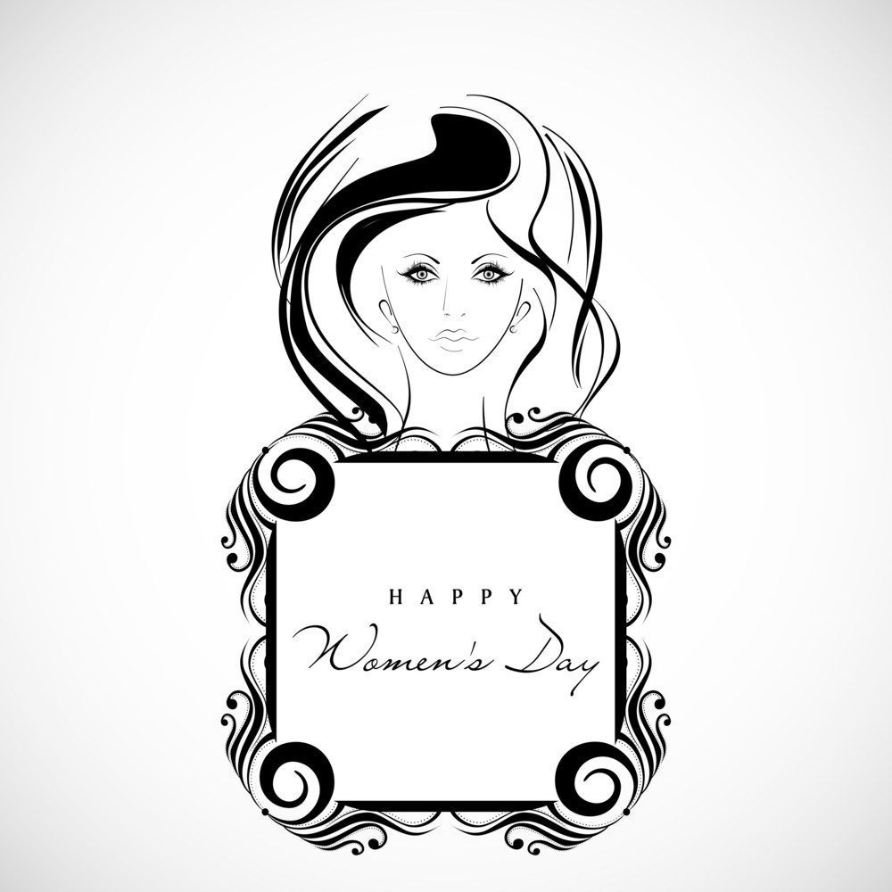 Happy Womens Day Greeting Card Or Poster Design With Beautiful Girl Holding Banner On Grey  Background.