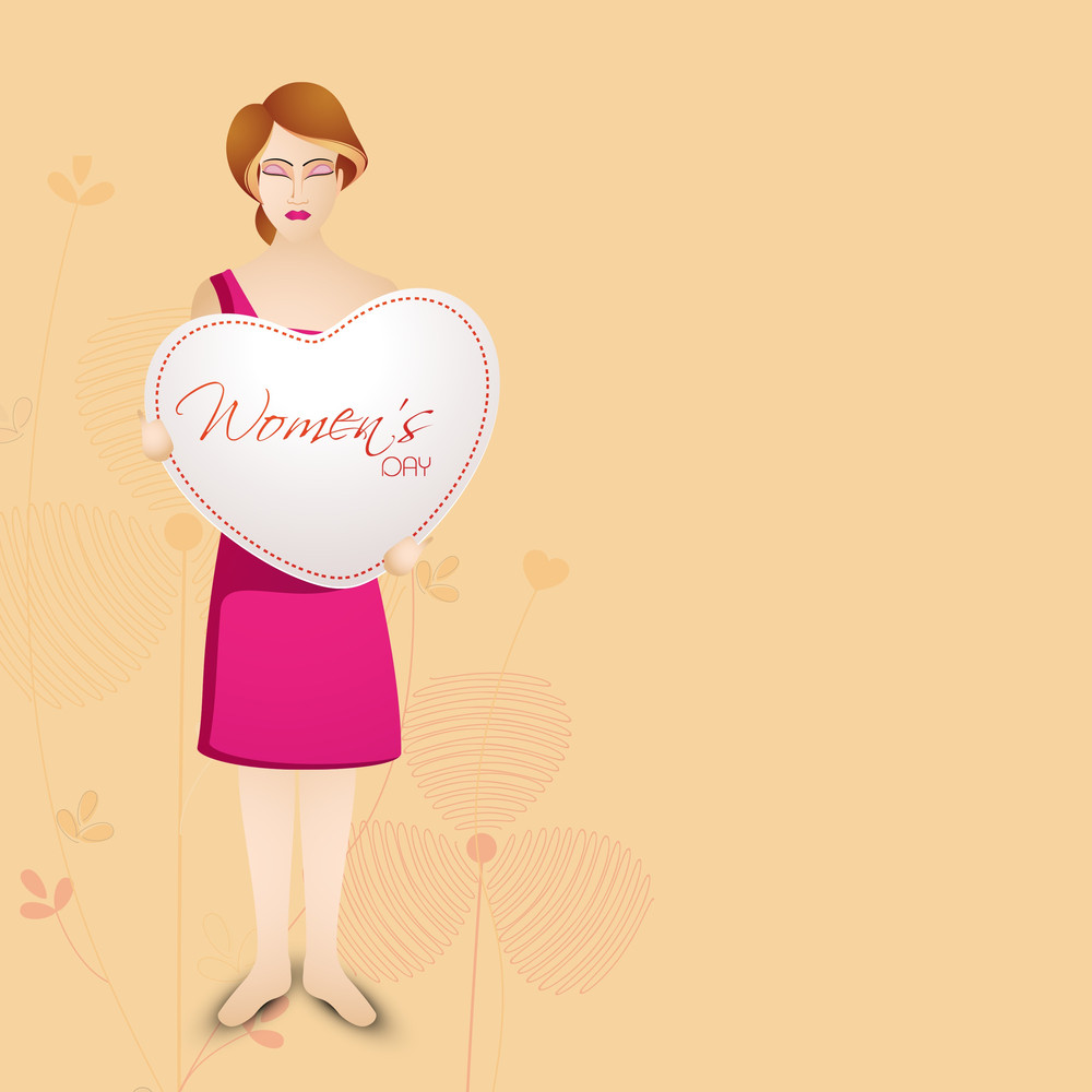 Happy Womens Day Greeting Card Or Poster Design With Beautiful Girls Holding Heart Shape On Brown Background.