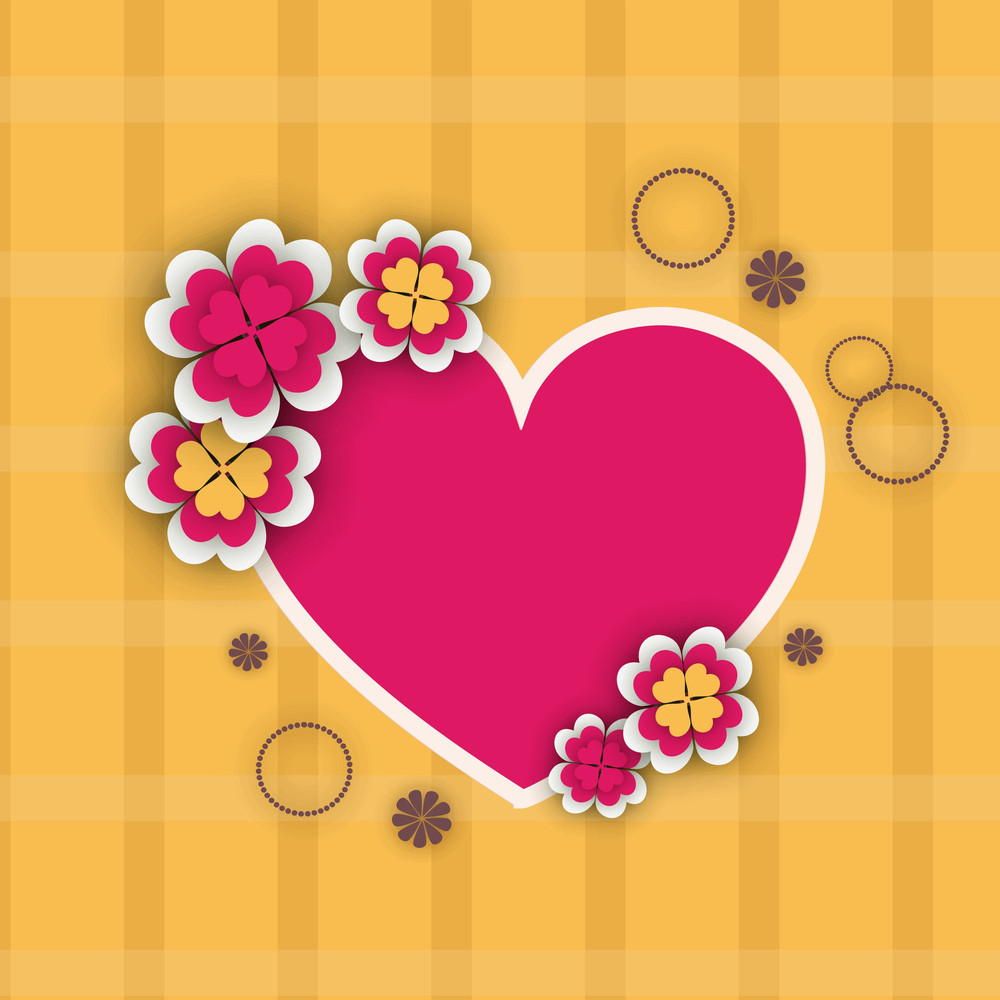 Happy Womens Day Greeting Card Or Poster Design With Beautifulpink Heart Shape On Yellow Background.