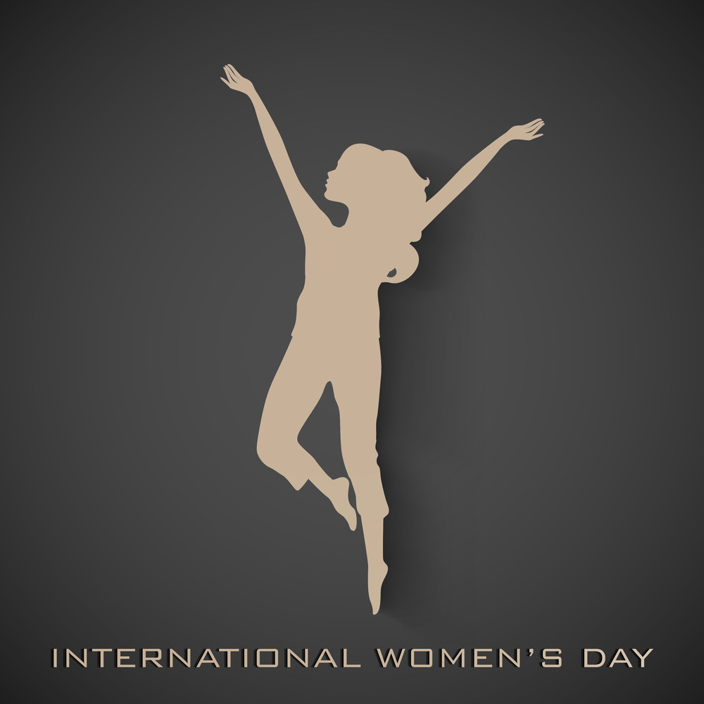 Happy Womens Day Greeting Card Or Poster Design With Brown Silhoustte Of Ahappy Woman On Grey Background.