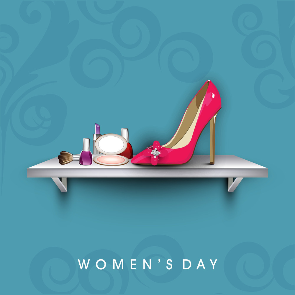 Happy Womens Day Greeting Card Or Poster Design With Cosmetics And Ladies Shoe.