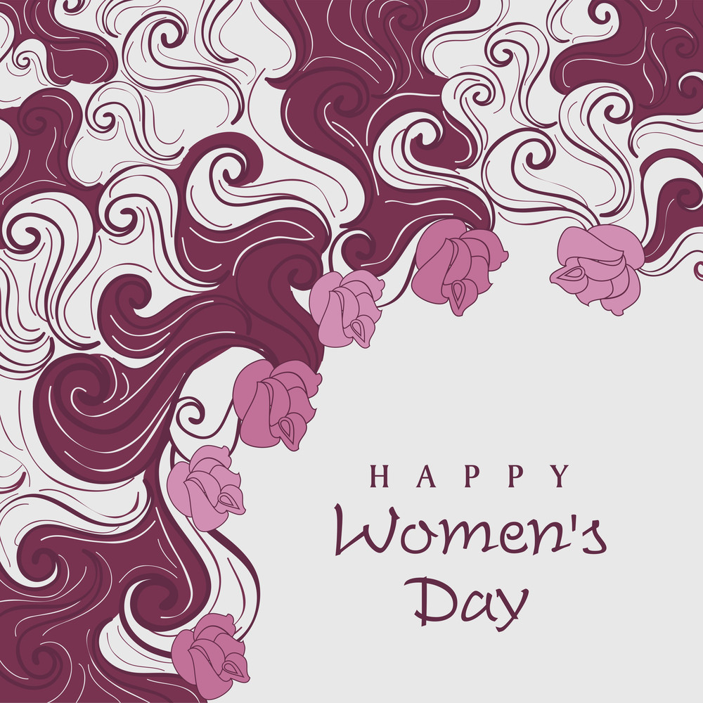 Happy Womens Day Greeting Card Or Poster Design With Floral Decorated Background.