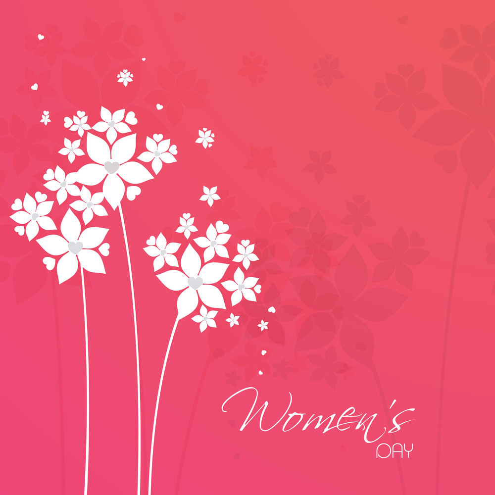 Happy Womens Day Greeting Card Or Poster Design With Floral Design On Pink Background.