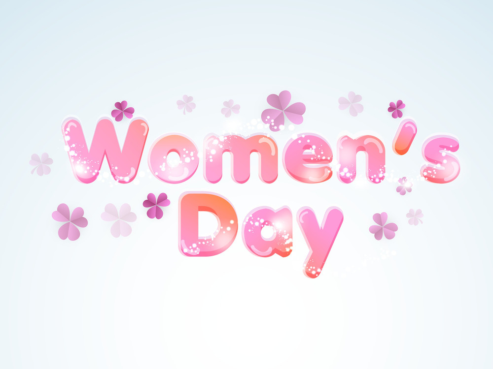 Happy Womens Day Greeting Card Or Poster Design With Glossy Oink Text On Blue Background.