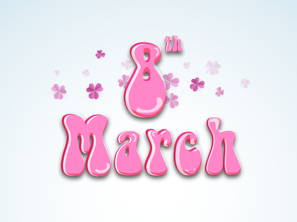 Happy Womens Day Greeting Card Or Poster Design With Glossy Pink Text On Blue Background.