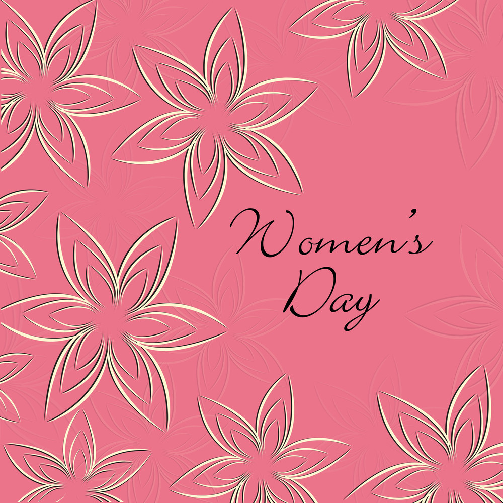 Happy Womens Day Greeting Card Or Poster Design With Golden Flowers On Pink Background.