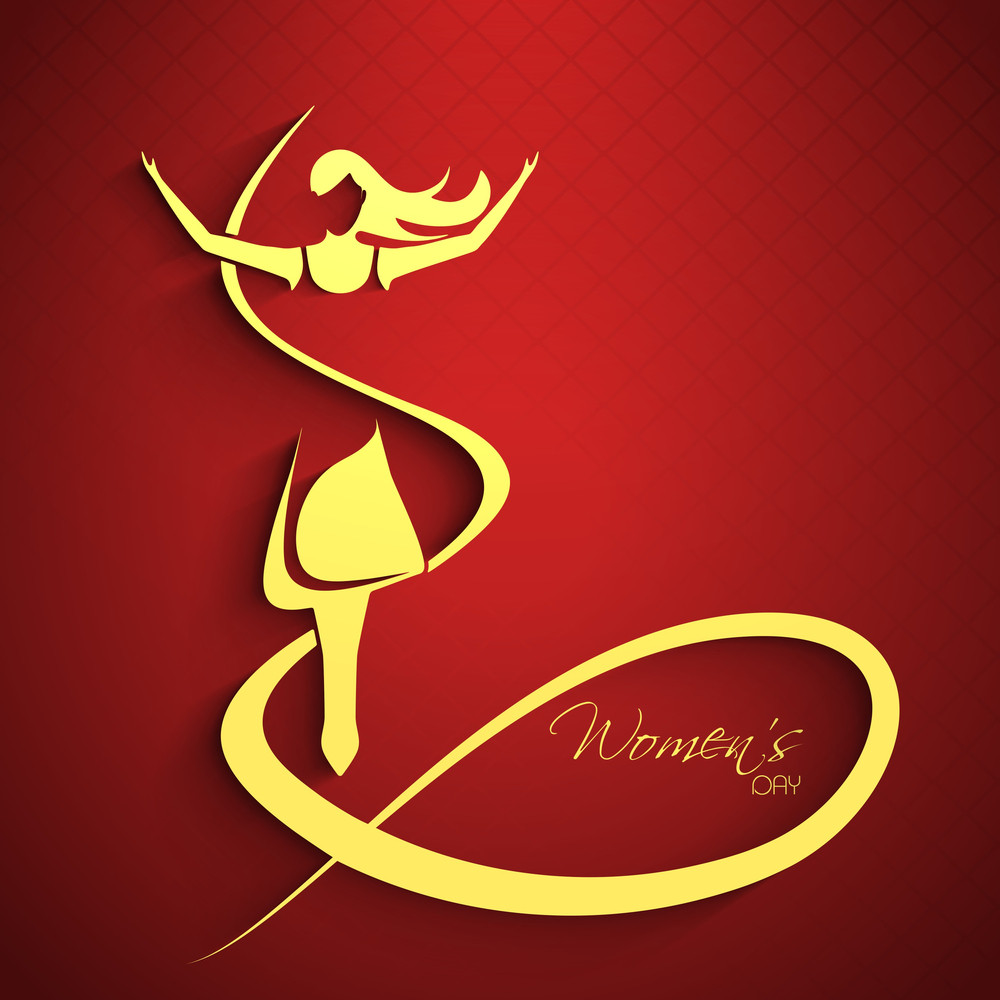 Happy Womens Day Greeting Card Or Poster Design With Golden Illustration Of A Woman In Dancing Pose On Bright Red Background