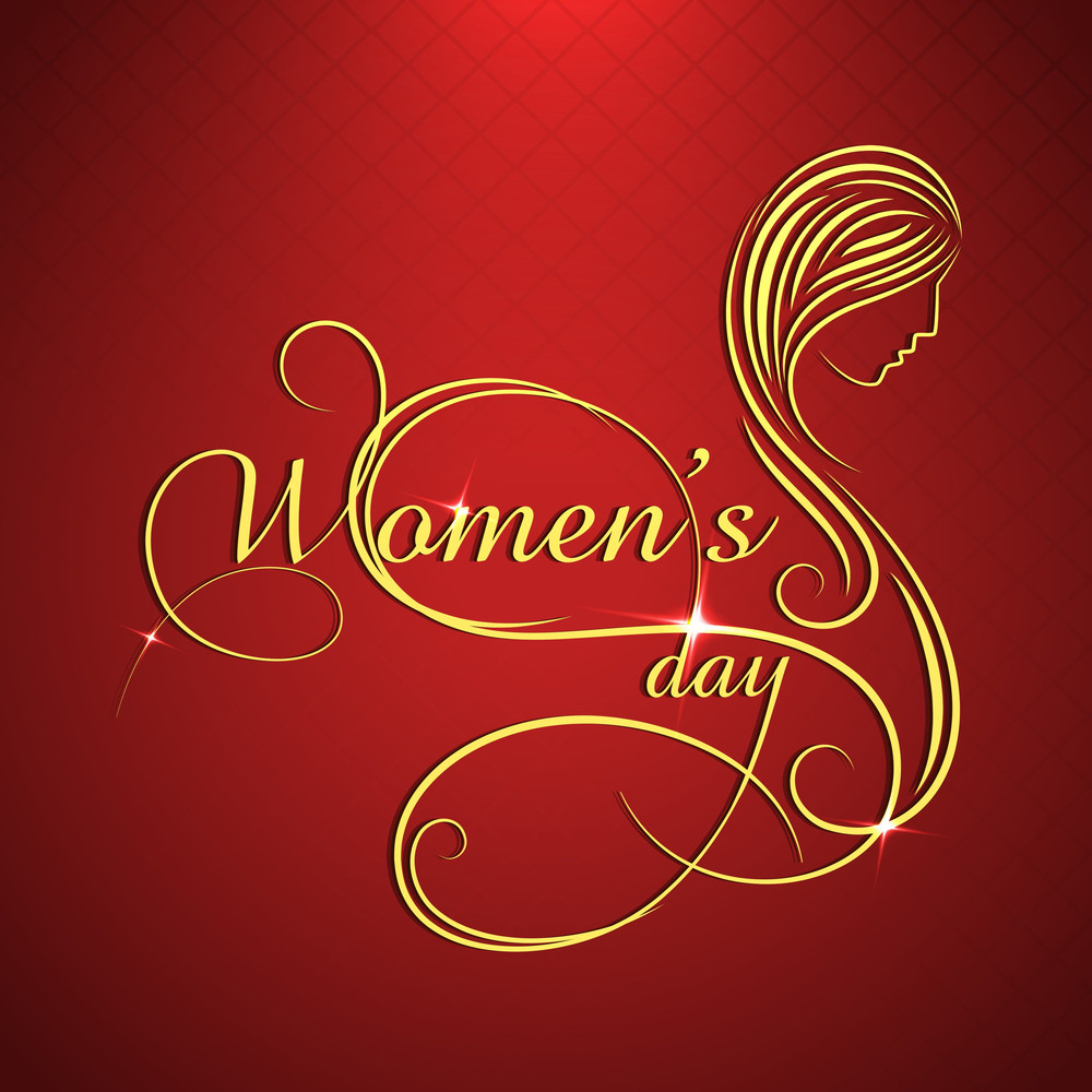 Happy Womens Day Greeting Card Or Poster Design With Golden Text  And Illustratof A Woman On Red Background.