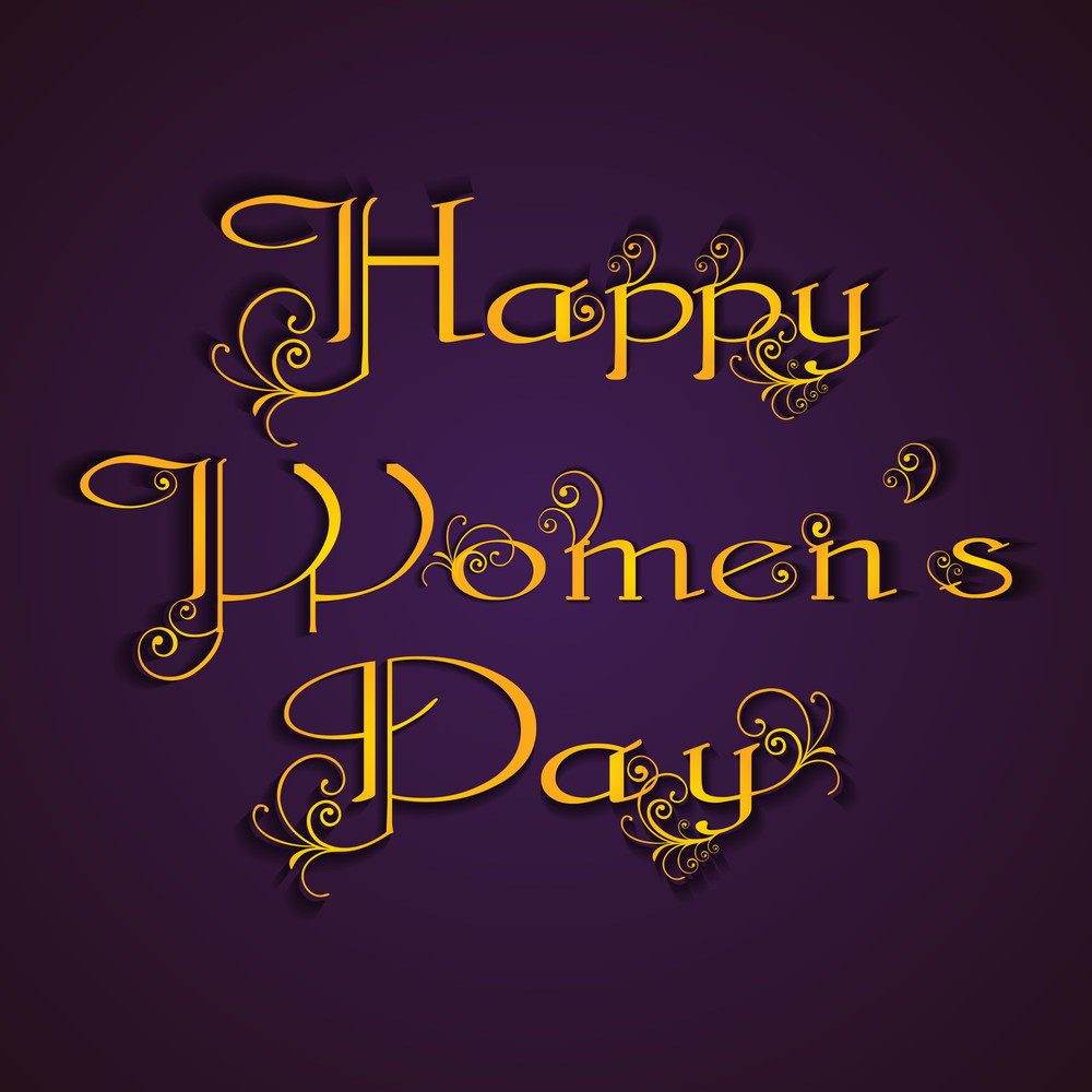 Happy Womens Day Greeting Card Or Poster Design With Golden Text On Purple Background.