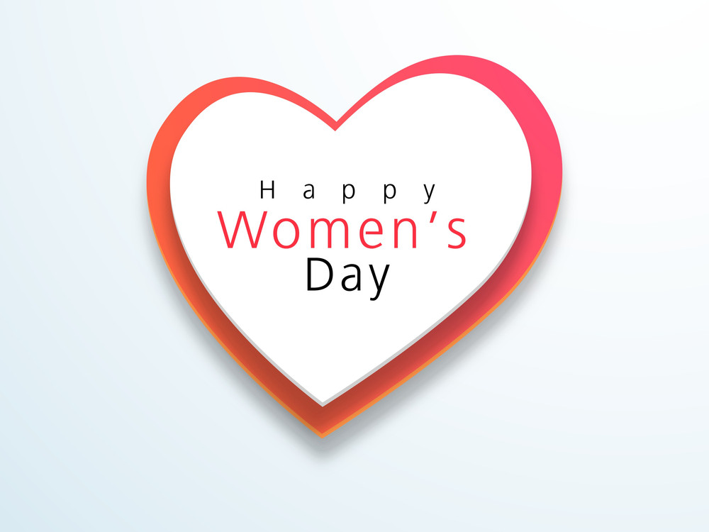 Happy Womens Day Greeting Card Or Poster Design With Happy Young Girl On Pink Hearts  Decorated Background.