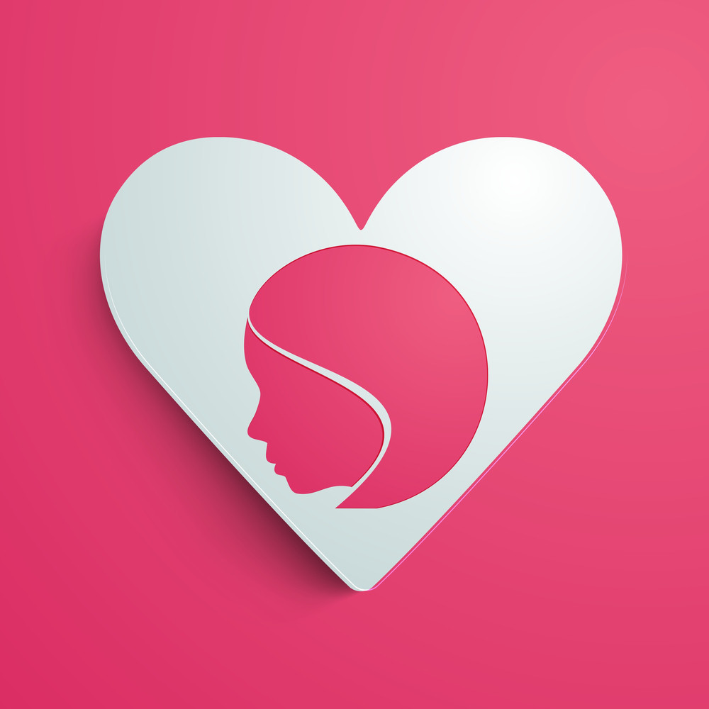 Happy Womens Day Greeting Card Or Poster Design With Heart Shape Design And Illustration Of A Girl On Pink Background.