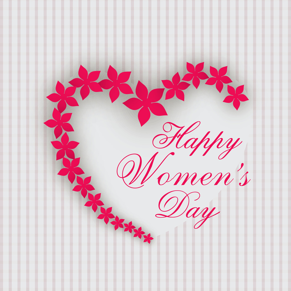 Happy Womens Day Greeting Card Or Poster Design With Heart Shape