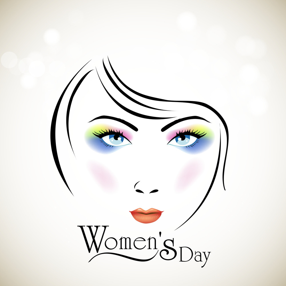 Happy Womens Day Greeting Card Or Poster Design With Illustration Of A Beautiful Girl.