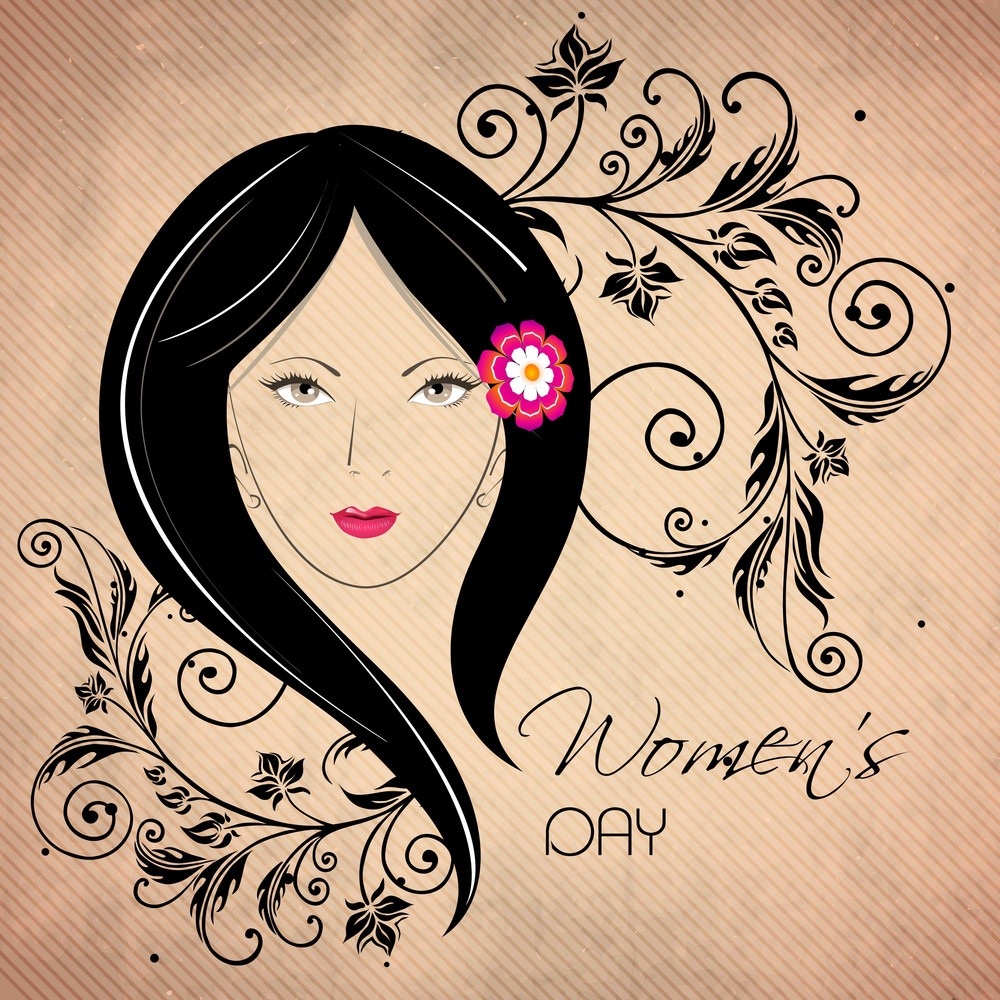 Happy Womens Day Greeting Card Or Poster Design With Illustration Of A Beautiful Girl On Floral Decorated Brown Background.
