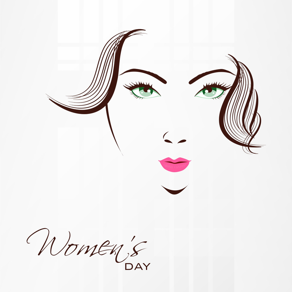 Happy Womens Day Greeting Card Or Poster Design With Illustration Of A Beautiful Girl With Green Eyes On Grey Background.