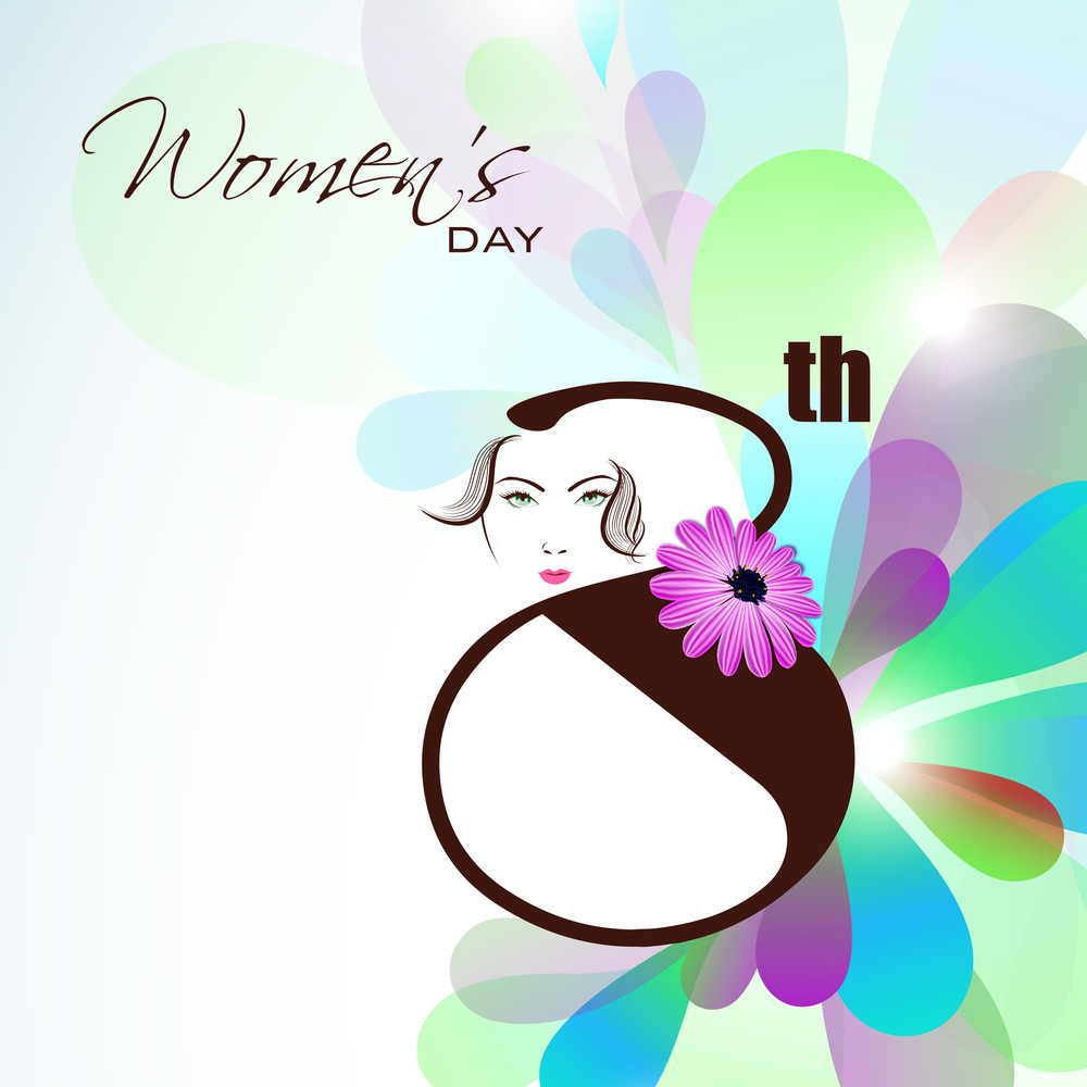 Happy Womens Day Greeting Card Or Poster Design With Illustration Of A Beautiful Girl And Stylish Text On Colorful  Background.