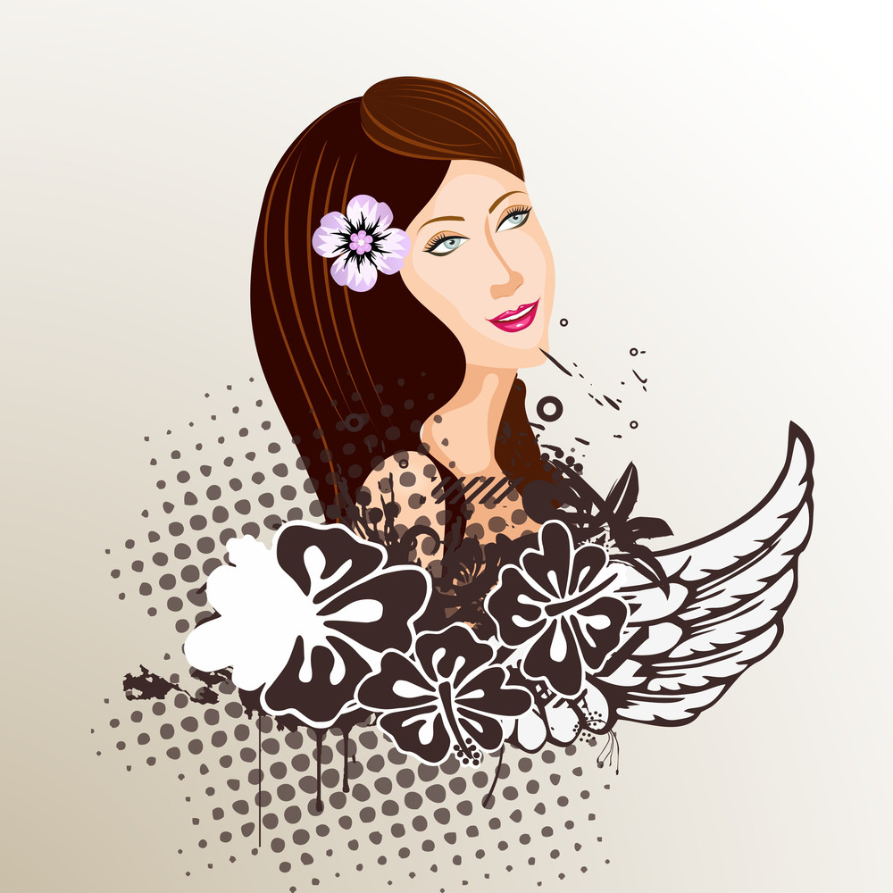 Happy Womens Day Greeting Card Or Poster Design With Illustration Of A Beautiful Girl On Floral Decorated Grungy Background.