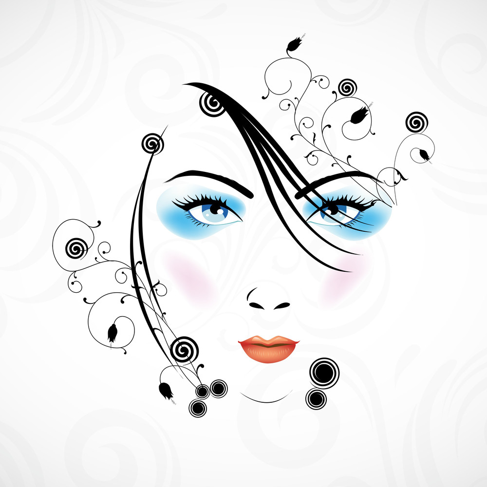 Happy Womens Day Greeting Card Or Poster Design With Illustration Of A Beautiful Girl On Grey Background.