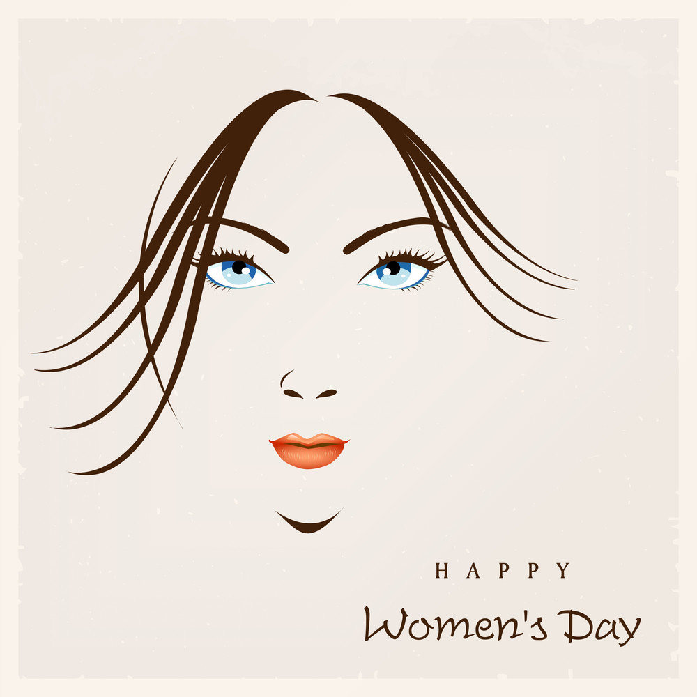 Happy Womens Day Greeting Card Or Poster Design With Illustration Of A Beautiful Girl With Blue Eyes On Abstract Brown Background.