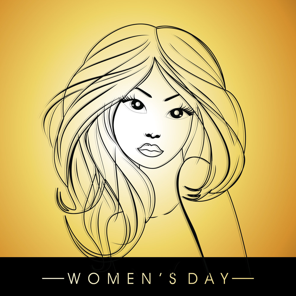 Happy Womens Day Greeting Card Or Poster Design With Illustration Of A Beautiful Woman On Shiny Yellow Background.