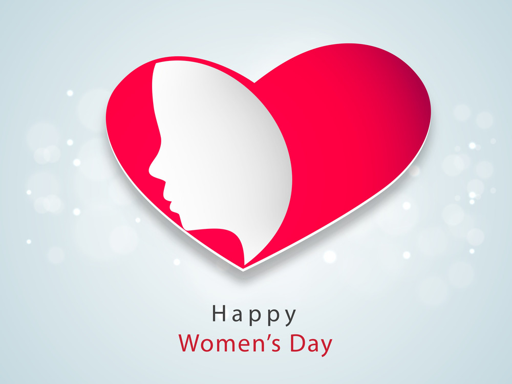 Happy Womens Day Greeting Card Or Poster Design With Illustration Of A Beautiful Girl In Pink Heart Shape Design On Blue Background.