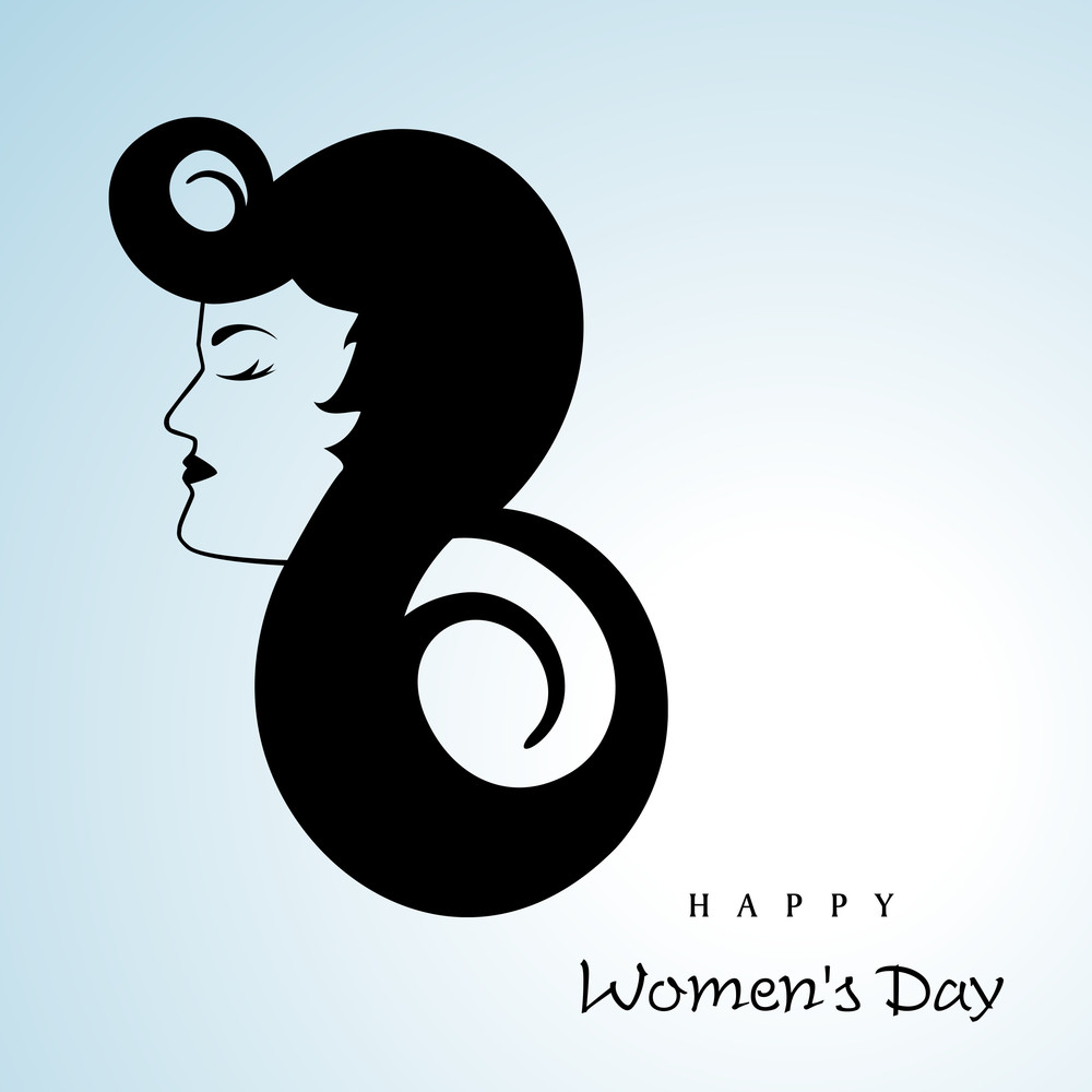Happy Womens Day Greeting Card Or Poster Design With Illustration Of A Beautiful Girl On Blue Background.