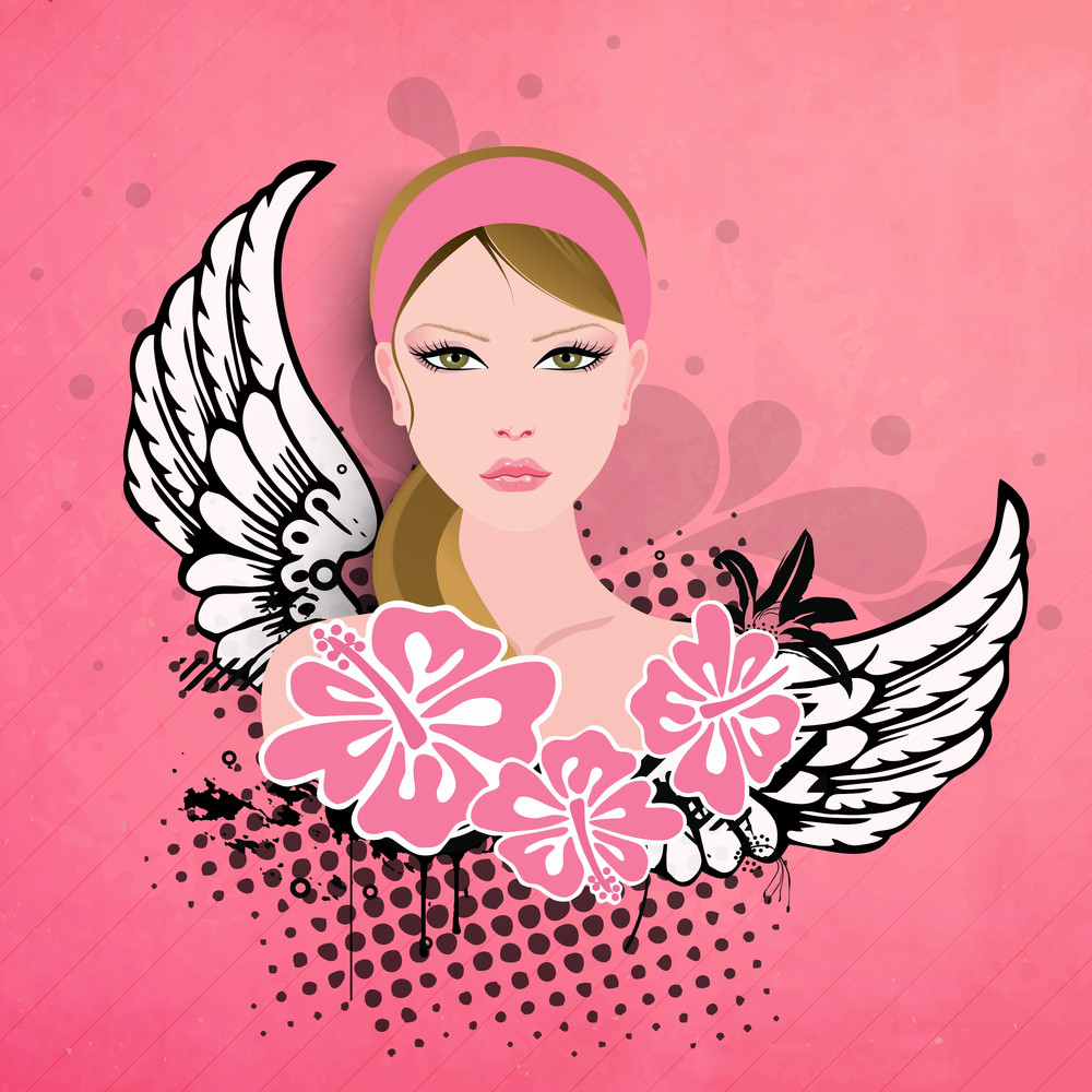 Happy Womens Day Greeting Card Or Poster Design With Illustration Of A Beautiful Girl On Pink Background.