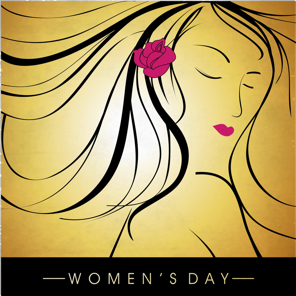 Happy Womens Day Greeting Card Or Poster Design With Illustration Of A Beautiful Girl On Shiny Yellow Background.