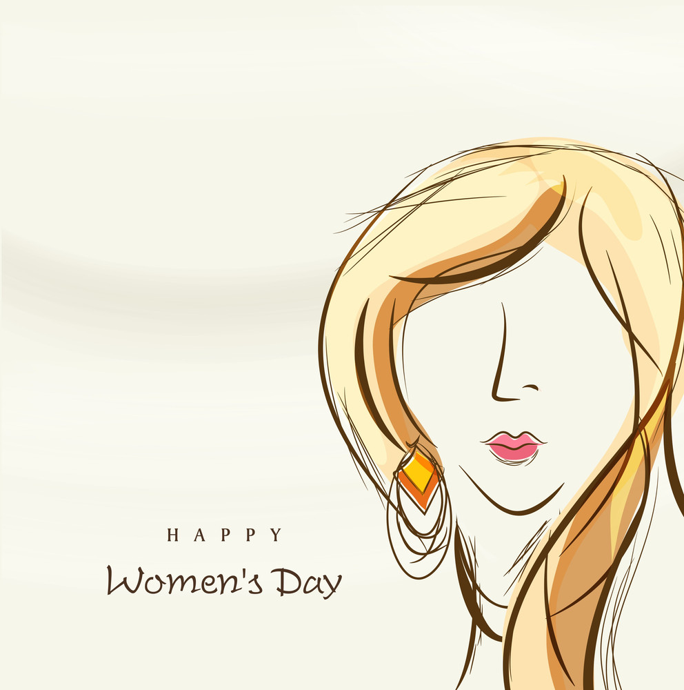 Happy Womens Day Greeting Card Or Poster Design With Illustration Of A Beautiful Women On Abstract Brown Background.