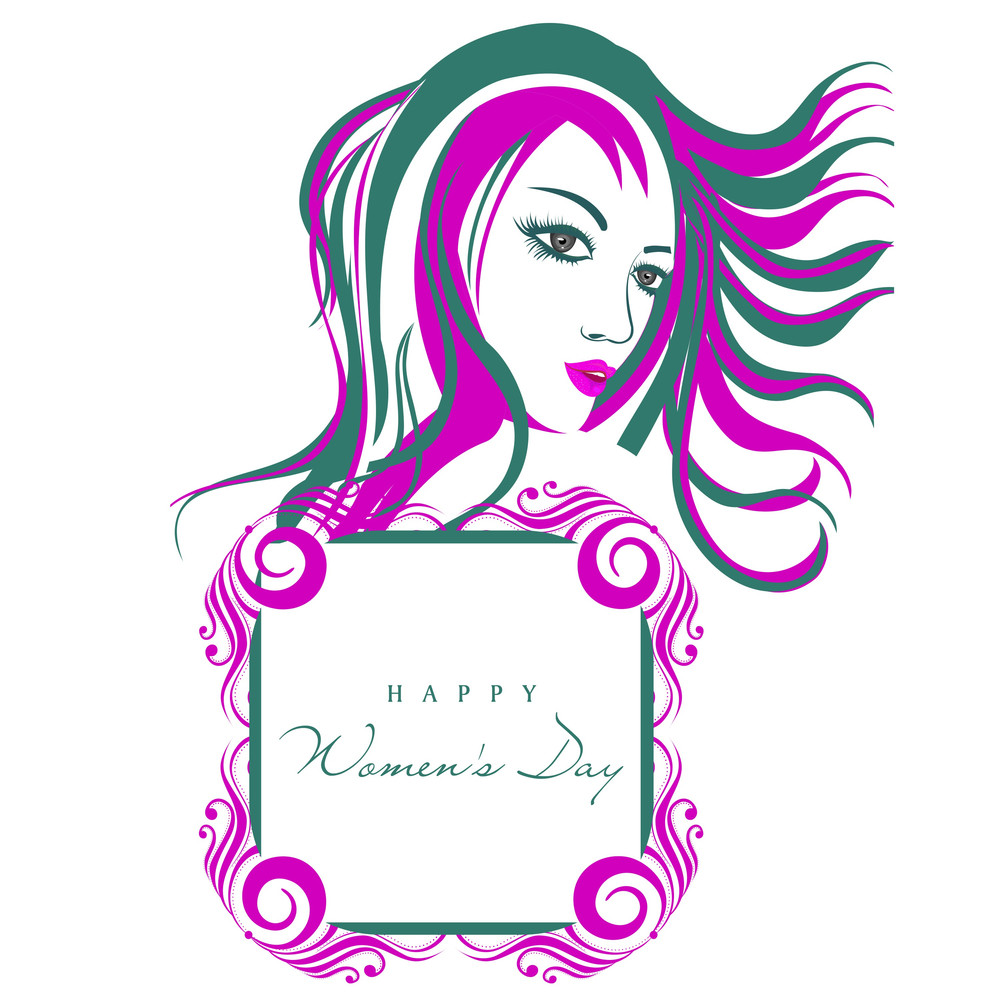 Happy Womens Day Greeting Card Or Poster Design With Illustration Of A Girl With Photoframe On Grey Background.